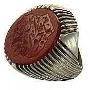 انگشتر نقره عقیق حکاکی یا جوادالائمه مردانه دست ساز