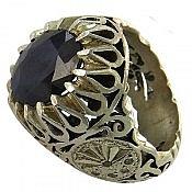 انگشتر نقره یاقوت و برلیان اصل فاخر و شاهانه مردانه دست ساز
