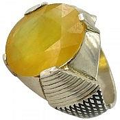 انگشتر نقره یاقوت آفریقایی زرد لوکس مردانه دست ساز