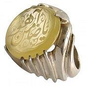 انگشتر نقره عقیق حکاکی یا ضامن آهو مردانه دست ساز