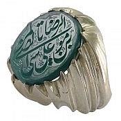 انگشتر نقره عقیق حکاکی یا علی ابن موسی الرضا المرتضی مردانه دست ساز