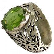 انگشتر نقره زبرجد شاهانه مردانه دست ساز