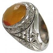انگشتر نقره عقیق یمن شرف الشمس مردانه دست ساز