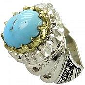 انگشتر نقره فیروزه نیشابوری و برلیان اصل شاهانه مردانه