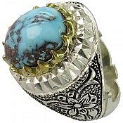 انگشتر نقره فیروزه نیشابوری شاهانه مردانه