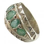 انگشتر نقره زمرد پنج جواهر مردانه