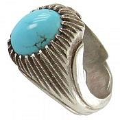 انگشتر نقره فیروزه نیشابوری ارزشمند و لوکس مردانه