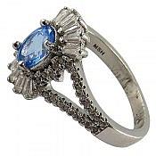 انگشتر نقره توپاز آبی طرح مهرناز زنانه