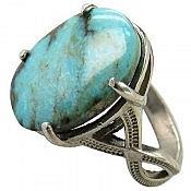 انگشتر نقره فیروزه نیشابوری درشت زنانه
