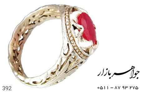 انگشتر نقره یاقوت سرخ مردانه دست ساز - 392