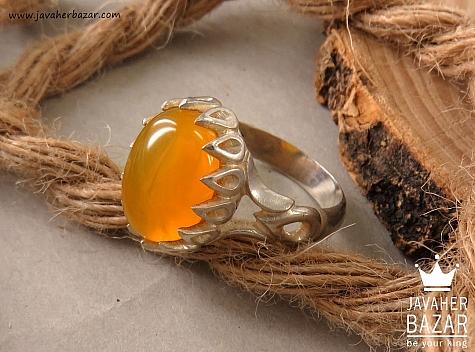 انگشتر نقره عقیق زرد دور اشکی شرف الشمس مردانه