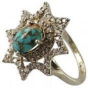 انگشتر نقره فیروزه نیشابوری طرح ستاره زنانه