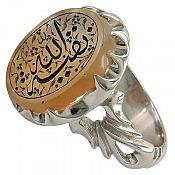 انگشتر نقره عقیق یمن حکاکی بقیه الله مردانه