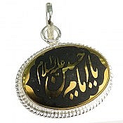 مدال نقره حدید حکاکی یا امام حسین علیه السلام