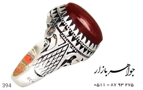 انگشتر نقره عقیق درشت مردانه - 394