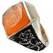 انگشتر نقره عقیق شاهانه و لوکس حکاکی هفت شرف مردانه دست ساز