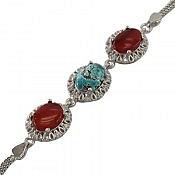 دستبند نقره عقیق و فیروزه فاخر زنانه