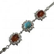 دستبند نقره عقیق و فیروزه نیشابوری فاخر زنانه