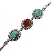 دستبند نقره عقیق و فیروزه نیشابوری لوکس زنانه
