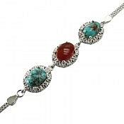 دستبند نقره عقیق و فیروزه نیشابوری اشرافی زنانه