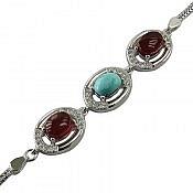 دستبند نقره عقیق و فیروزه نیشابوری ارزشمند زنانه