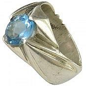 انگشتر نقره توپاز سوئیس مرغوب و خوش رنگ مردانه