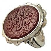 انگشتر نقره عقیق حکاکی صلوات مردانه دست ساز