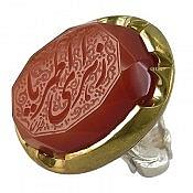 انگشتر نقره عقیق حکاکی یازهرای اطهر مردانه دست ساز