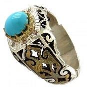 انگشتر نقره فیروزه نیشابوری و برلیان اصل شاهانه مردانه دست ساز