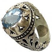 انگشتر نقره توپاز لندن شاهانه مردانه دست ساز