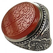 انگشتر نقره عقیق یمن شرف الشمس حکاکی و من یتق الله مردانه