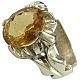انگشتر نقره سیترین شاهانه مردانه دست ساز