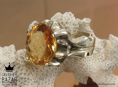 انگشتر نقره سیترین شاهانه مردانه دست ساز - 39731