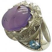 انگشتر نقره عقیق توپاز شاهانه مردانه دست ساز