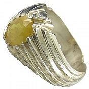 انگشتر نقره یاقوت زرد سلطنتی مردانه دست ساز
