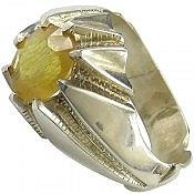 انگشتر نقره یاقوت زرد سلطنتی مردانه