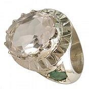 انگشتر نقره در نجف زمرد الماس تراش مردانه دست ساز