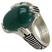 انگشتر نقره عقیق سبز چهار چنگ
