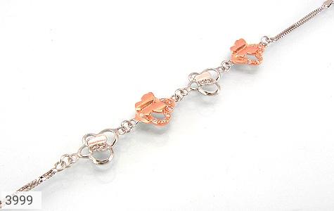 عکس دستبند نقره طرح پروانه زنانه