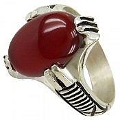 انگشتر نقره عقیق قرمز چهار چنگ