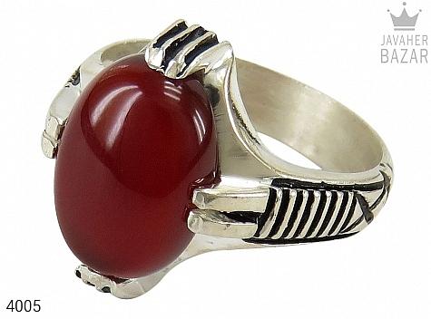 عکس انگشتر نقره عقیق قرمز 4 چنگ