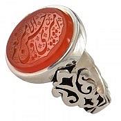 انگشتر نقره عقیق یمن حکاکی امیری حسین و نعم الامیر مردانه دست ساز