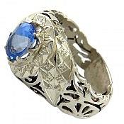 انگشتر نقره توپاز سوئیس طرح سلطنتی مردانه