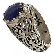 انگشتر نقره یاقوت آفریقایی کبود شاهانه مردانه دست ساز