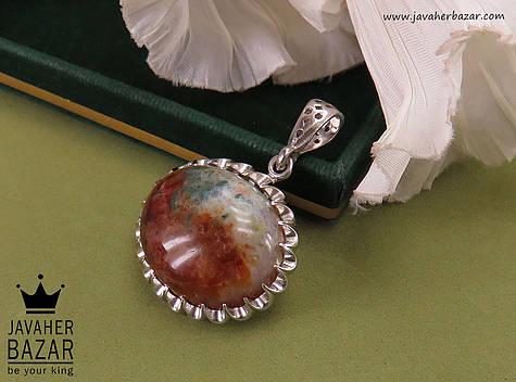 مدال نقره عقیق خزه ای فاخر - 40150