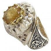 انگشتر نقره یاقوت آفریقایی زرد و برلیان اصل شاهانه مردانه دست ساز