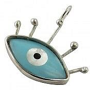 مدال نقره صدف طرح چشم دست ساز
