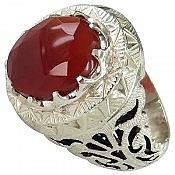 انگشتر نقره عقیق یمن الماس تراش مردانه دست ساز