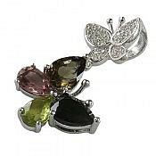 مدال نقره تورمالین طرح پروانه