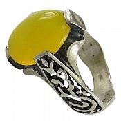 انگشتر نقره عقیق زرد شرف الشمس رکاب یاحسین و یاعباس مردانه